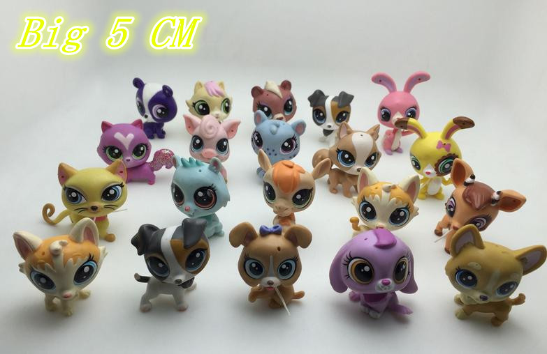 O for U 10Pcs/lot Big Q Pet Animal Action Dolls about 5CM Mini Figures Dog Cat Little Pet Action Toy Kids Christmas Gift Toy ...