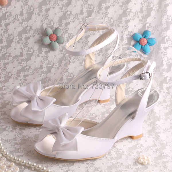 ФОТО White Bow Wedge Heel Womens Dress Wedding Sandals Open Toe in Summer Dropship