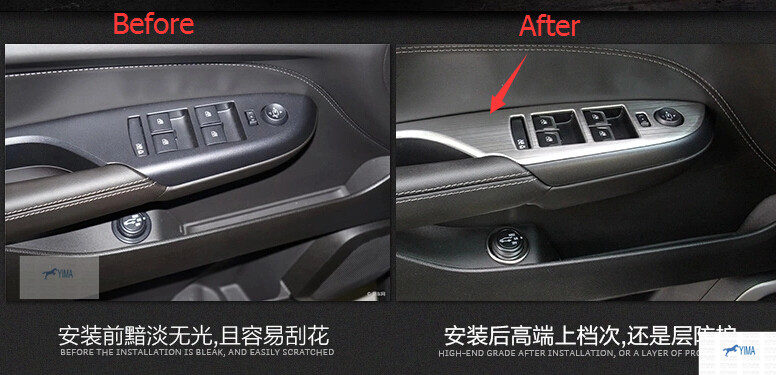 For Cadillac SRX 2010-2013 Stainless Steel Inner Door Armrest Window Lift Button Cover Trim 4 pcs