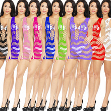 American sexy seduction suits womens transparent Sling large code mesh gauze installed pajamas