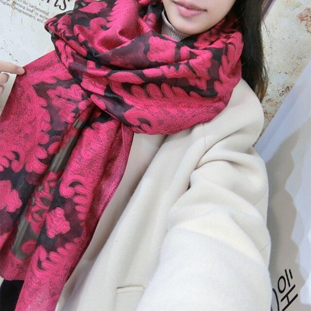 Осень и зима весна теплый сплошной цвет вышитые цветы леди шарф вышивка цветок пастырской стиль шутник шаль шарф