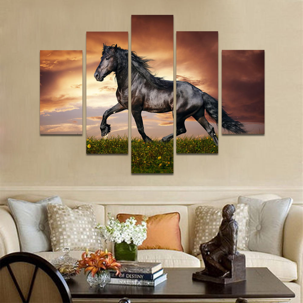 Unframed Canvas Animal Painting Black Horse Meadow Dark Clouds Picture Prints Wall Picture For Living Room Wall Art Decoration
