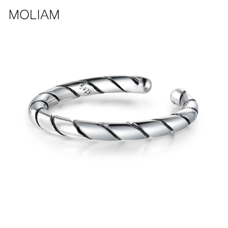 Authentic 925 Sterling Silver Rings For Women Vintage Belt Shape Thumb Open Band