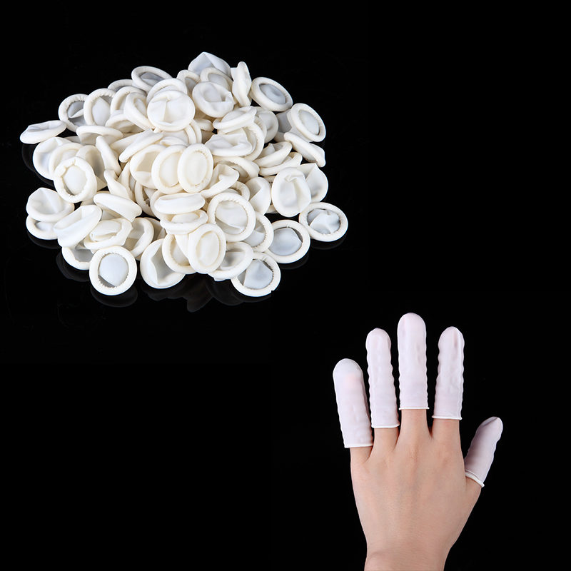 100Pcs/Bag White Nail Art Manicure Perdicure Latex Rubber Finger Cots Protector Gloves Tools disposable latex gloves lab white rubber labor insurance 25 pairs 50 bag