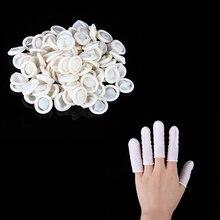 100Pcs/Bag White Nail Art Manicure Perdicure Latex Rubber Finger Cots Protector Gloves Tools