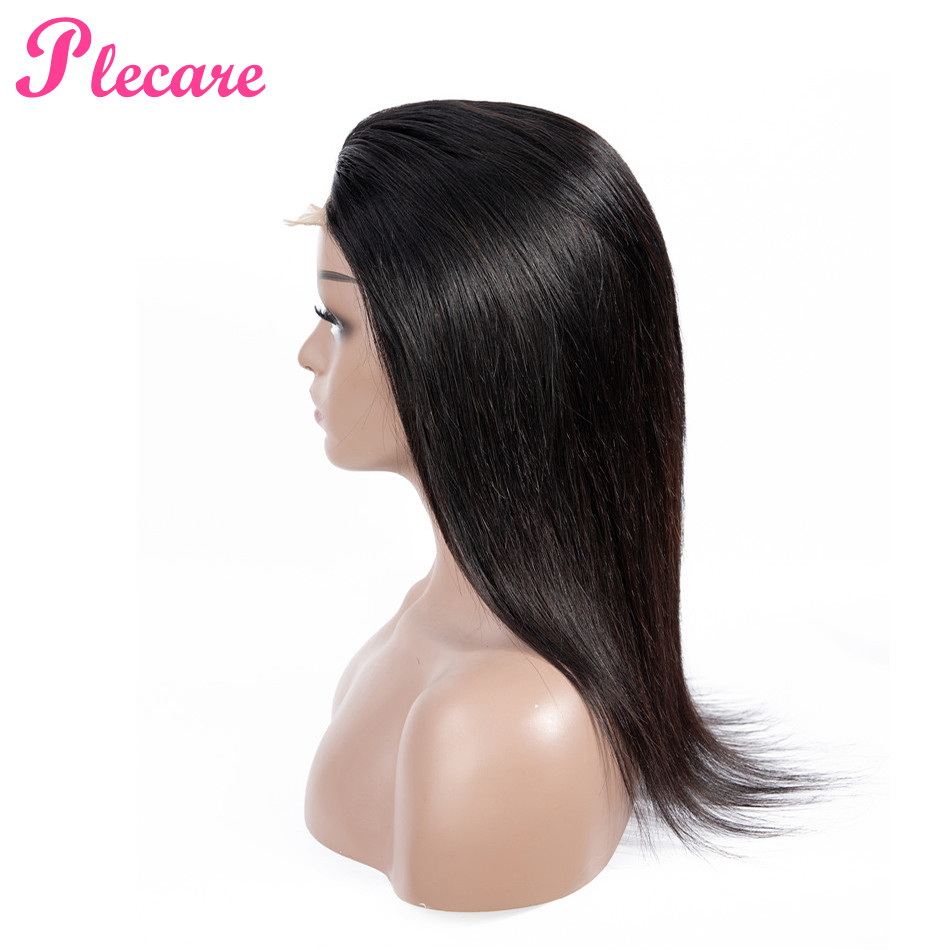 Plecare Lace Front Human Hair Wigs For Black Women Straight Lace Front Brazilian Hair Wig Non Remy Natural Color Hair Extensions