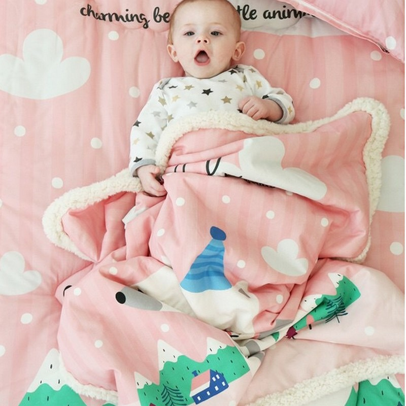 Newborn Wool Stroller Blanket For Baby Bedding Blanket Soft Fleece Blankets Baby Swaddling Bedding Set manta kid cobertor Winter