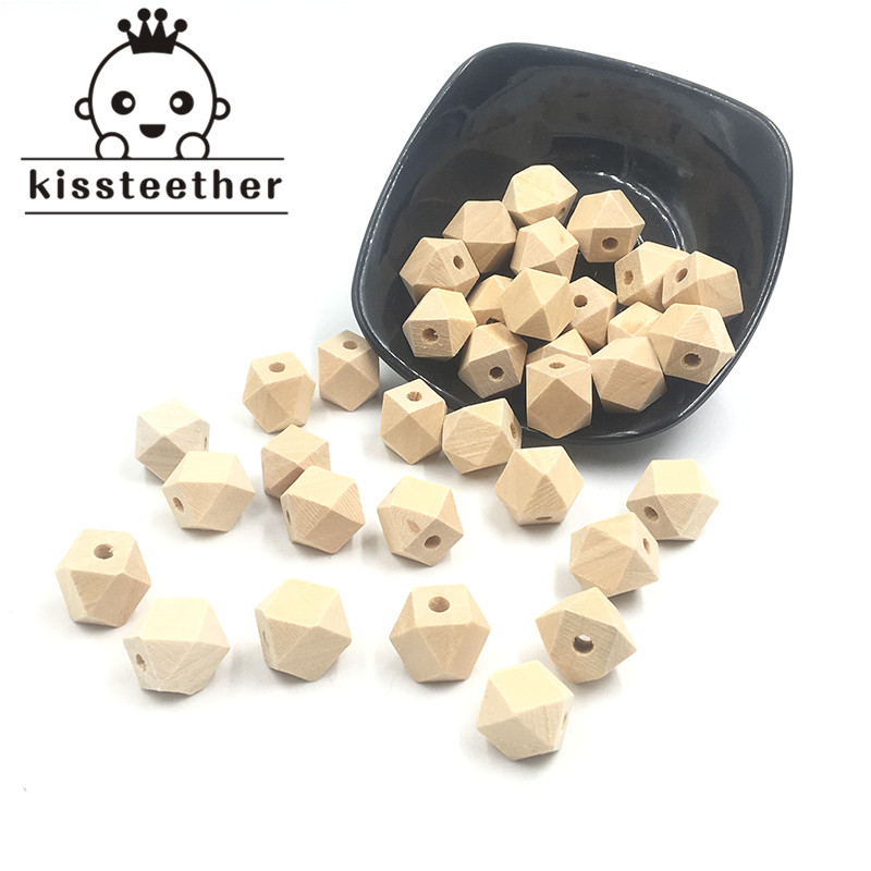 100pcs Unfinished  Wood Hex/Geometric Beads Wood Octagonal Baby Chew Beads Safe Jewelry For DIY Wooden Baby Teething Necklace