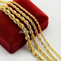 3mm 4mm 5mm 7mm Collar de Cuerda Clásico Para Hombres Mujeres niños Niñas Oro Amarillo Llenó Twisted Cadenas de Acoplamiento Larga joyería