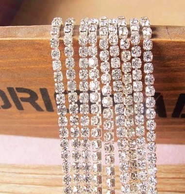 SS6 SS8 SS10 SS12 SS16 2M/Lot Clear Crystal Cup Chain ,Silver Base Clear Crystal,DIY Accessories Rhinestone Chain fja0112 ss3 ss4 ss5 ss6 ss8 ss10 ss12 ss16 ss20