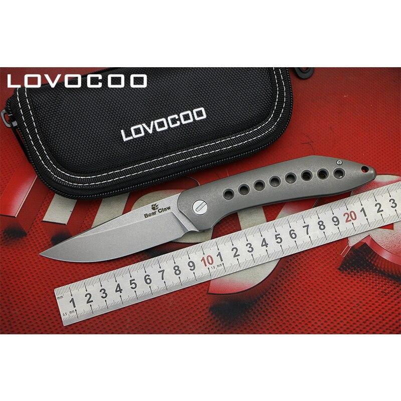 LOCOVOO Flying Shark Flipper folding knife S35VN blade Titanium handle Hidden open Outdoor camping hunting knives