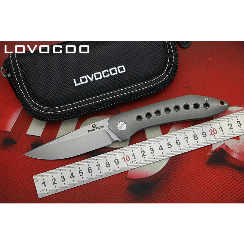 LOCOVOO Flying Shark Flipper folding knife S35VN blade Titanium handle Hidden open Outdoor camping hunting knives EDC tools