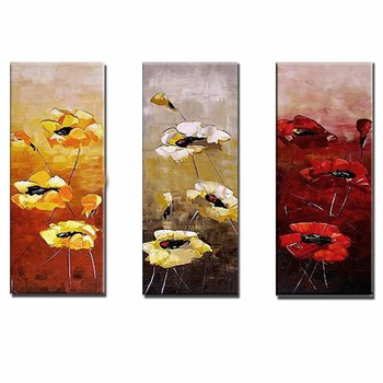 Hand Painted Abstract 3 Panles Palette Knife Flower Canvas Oil Painting Abstract Flower Wall Picture Living Room Home Wall Decor