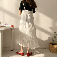 Fishtail Sleeveless Pleated Dress Casual Loose V Neck Vintage Women Sweet Long Dress Summer Streetwear White Beach Chiffon Dress