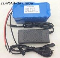 24 V 6Ah 7S3P 18650 Batterie au lithium batterie 29.4 v 6000 mah vélo électrique cyclomoteur/électrique/lithium ion batterie pack + 2A chargeur