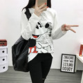 4xl plus size blusas feminina primavera outono inverno 2016 coreano bonito dos desenhos animados mickey mulheres soltas de manga comprida T-shirt feminina A1486