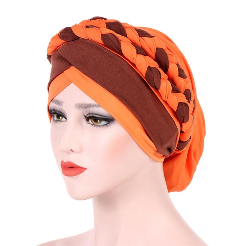 2018 Fashion New Women Hairbraid India Africa Muslim Stretch Turban Cotton Hair Loss Head Scarf Wrap Cap Casual Hot Sale #L26 (19)