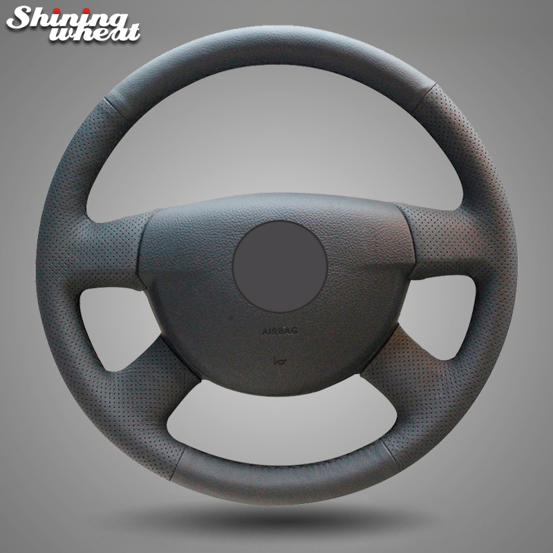 Shining wheat Black Genuine Leather Hand-stitched Car Steering Wheel Cover for Volkswagen VW Passat B6 special hand stitched black leather steering wheel cover for vw golf 7 polo 2014 2015