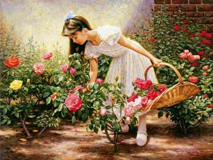 Вышивка девочка с розами