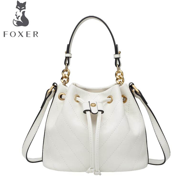 FOXER luxury fashion high quality Messenger bag 2019 new fashion single shoulder bag wild large capacity simple bucket bagFOXER luxury fashion high quality Messenger bag 2019 new fashion single shoulder bag wild large capacity simple bucket bag