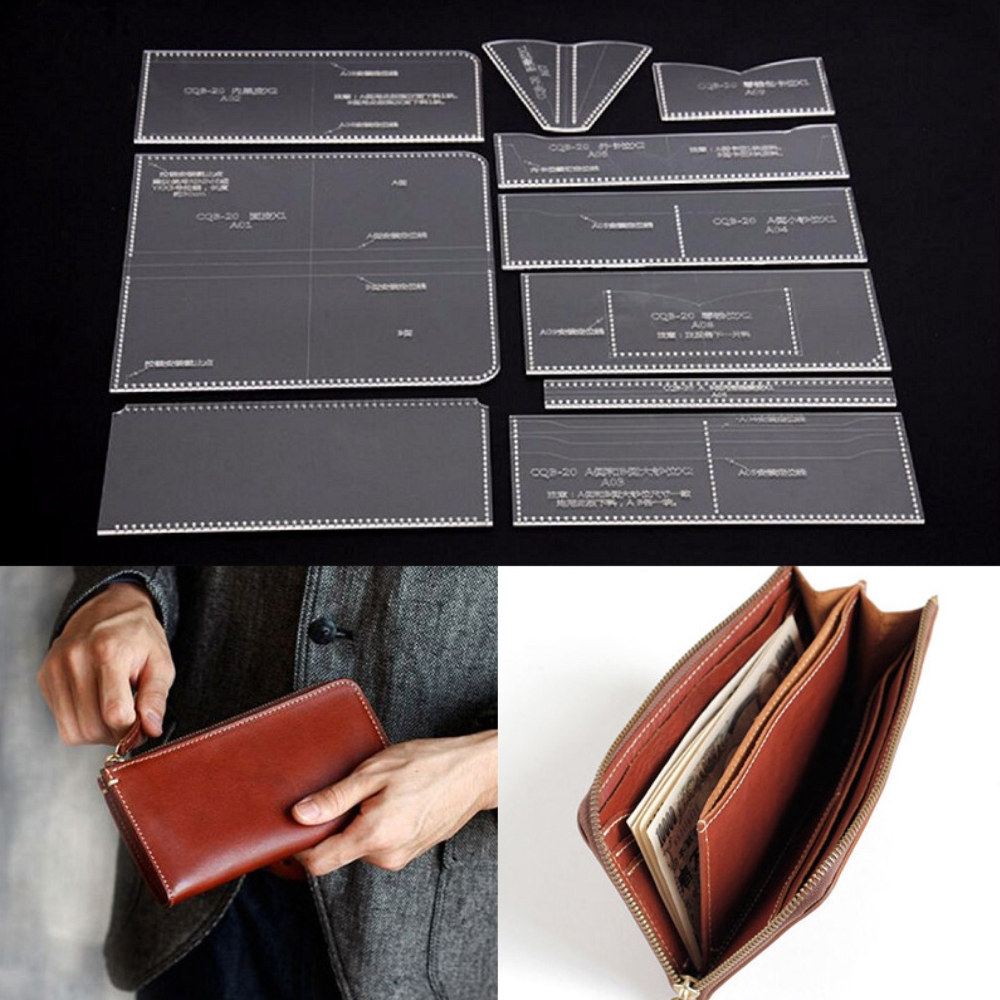 10Pcs DIY Leather Craft Long Zip Wallet Purse Acrylic Pattern ...