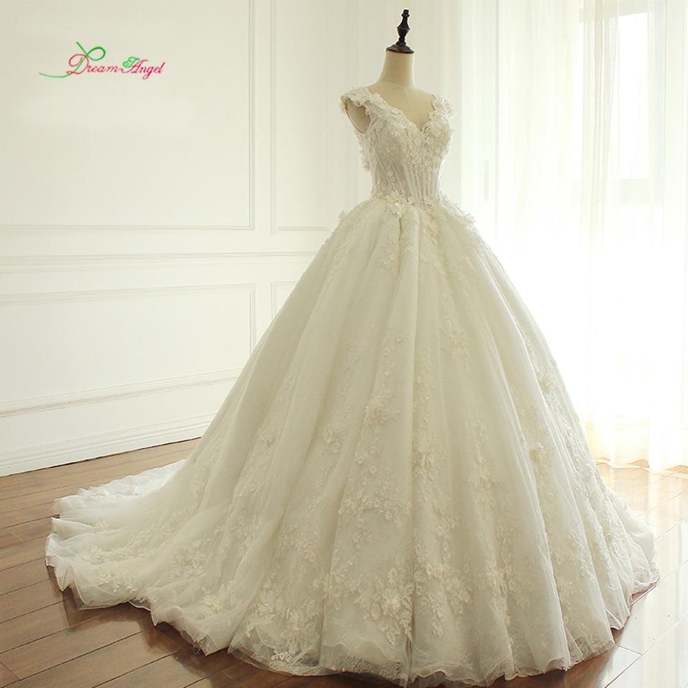 Ангел мечты Элегантные цветы кружева свадебное платье принцессы 2018 Бисероплетение Аппликации Vintage платья невесты Robe De Mariage плюс размер