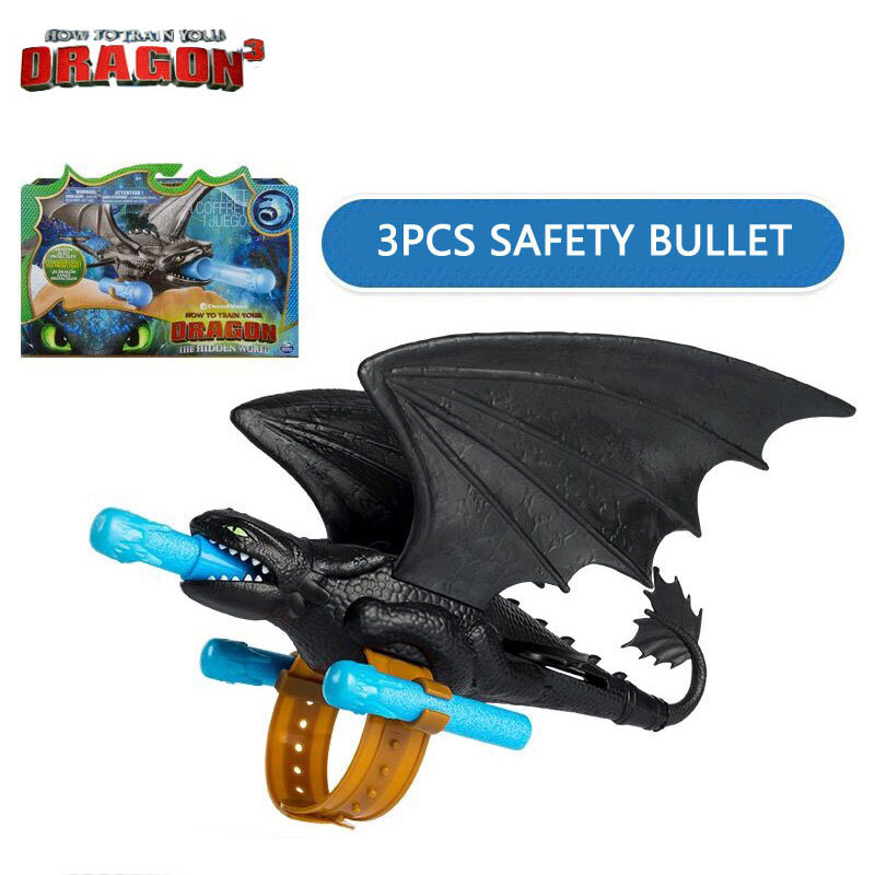 New Genuine How to Train Your Dragon 3 Toothless Action figure Light Fury Toothless Night Fury Dragon Shooting Toys For Children