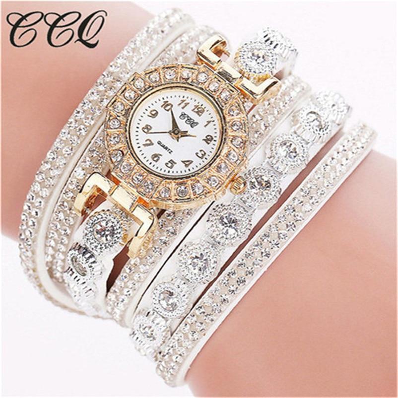 CCQ 2018 Watch Women Bracelet Ladies Watch With Rhinestones Clock Womens Vintage Fashion Dress Wristwatch Relogio Feminino Gift 1
