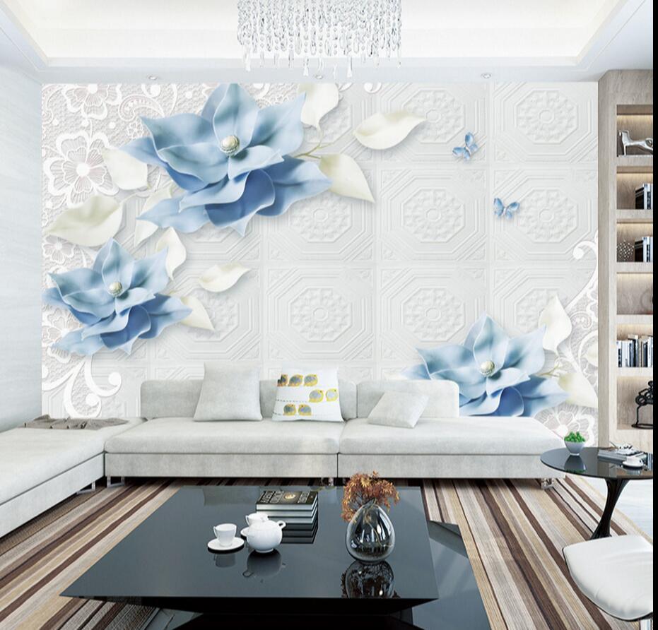 US $9.59 52% OFF|3D Blau Floral Schmetterling Tapeten Foto Wandbild für  Wohnzimmer Moderne Tapete Klassische 3d Wandbild Stoff Wand Papier  Rollen-in ...