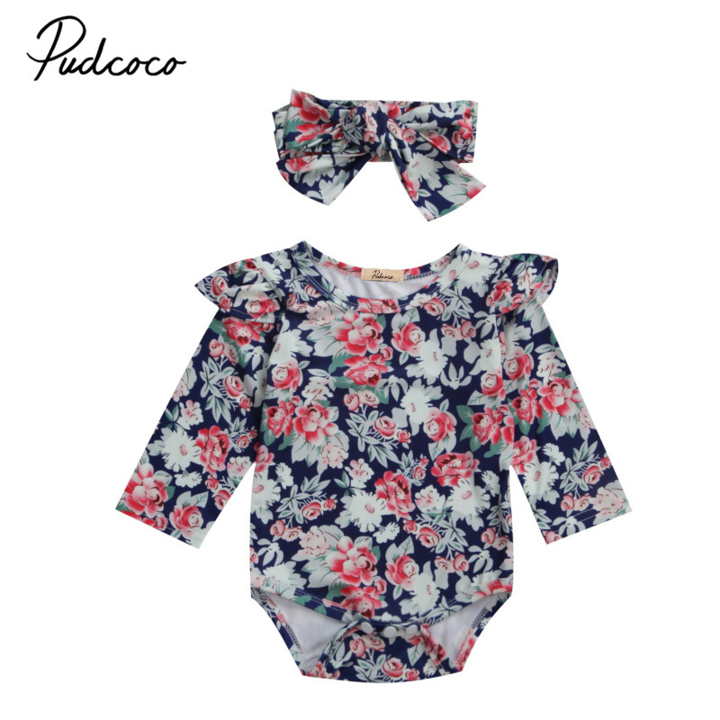 Newborn Kids Baby Girls Floral Clothes Outfits Infant Cotton Floral Ruffles Long Sleeve Jumpsuit Romper Sunsuit Clothing Outwear