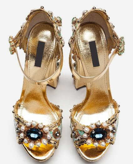 Moraima snc Hot Selling Super High Back Strap Sandals  Gold Crystal Square Heel SandalsMoraima snc Hot Selling Super High Back Strap Sandals  Gold Crystal Square Heel Sandals