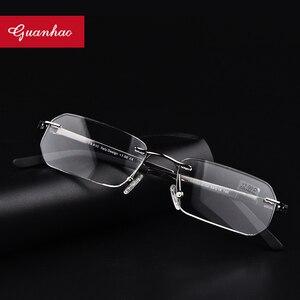 Image 1 - Guanhao Randlose Ultraleicht Legierung Lesebrille Männer Frauen Business Nase Pads Optische Gläser Rahmen Brillen Brillen 1,5