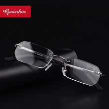 Guanhao Rimless Ultralight Alloy Reading Glasses Men Women Business Nose Pads Optical Glasses Frame Spectacles Eyeglasses 1.5