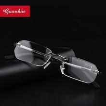 Guanhao, gafas de lectura sin montura de aleación ultraligera, para hombre y mujer, almohadillas para nariz de negocios, gafas de Marco óptico, gafas, gafas 1,5