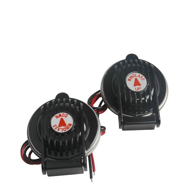 Windlass Interruptor de pie de anclaje marino, accesorio para cabrestante de anclaje de barco, 1 hacia arriba y 1 hacia abajo, color negro