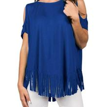 3c0ea2ee64bb20 Sell LIMITSTOCK Brand Women Open Shoulder Plus Size Tops With Tassel Ladies  Over Size Tees Royal