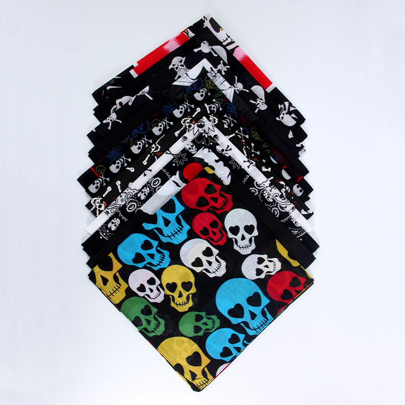 Skull Print Scarf Sweatband Bandanas 100%Cotton Western Riding Men Basketball Pirate