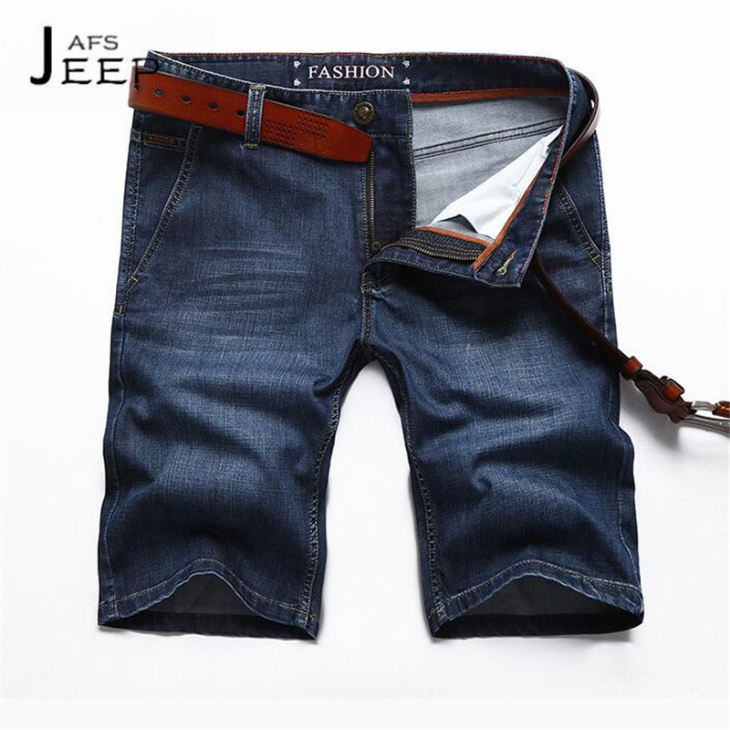 JI PU Micro Elastic Summer Brand Mans Short Length Jeans,Dark Blue Nature Cotton Casual Motorcycle Style Knee Length Jeans