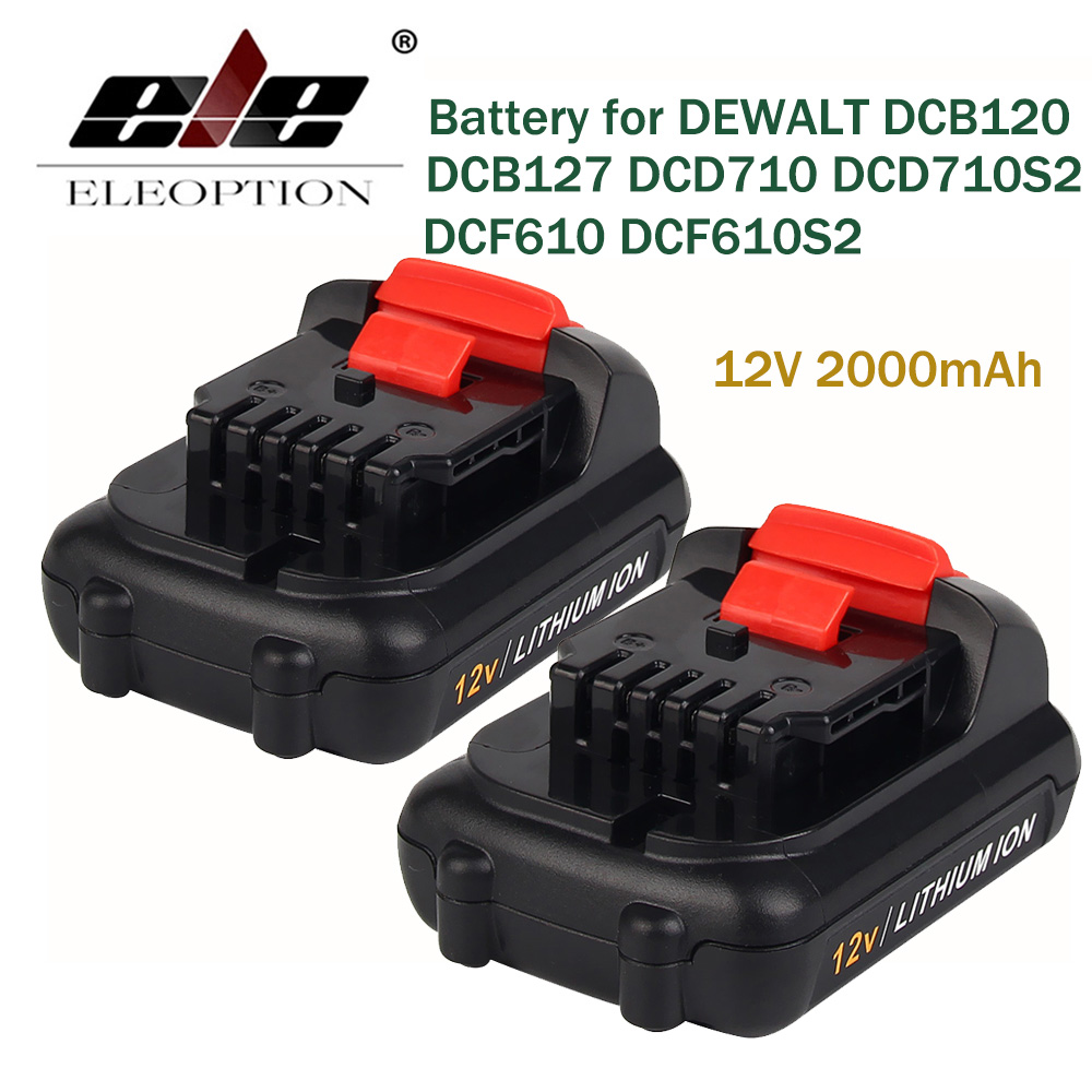 ELEOPTION 2PCS 12V 2000mAh Li-ion Replacement Battery for DEWALT DCB120 DCB127 DCD710 DCD710S2 DCF610 DCF610S2 DCF813S2 DCF815
