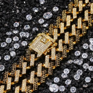 Image 4 - UWIN Drop Shipping Fashion Iced Prong Cuban Link Chains Necklaces 15mm Mutil Colored Blue/Black Rhinestones Hiphop Jewelry Mens