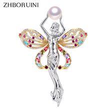 ZHBORUINI Fine Jewelry Natural Freshwater Pearl Brooch Non Fading Angel Pins Women Italian Technology Gift