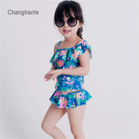 New Model Baby Girl Swimwear Two Pieces Style Magenta With Flamingos Pattern Fit 2 7Y Little