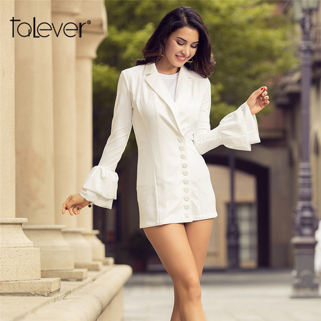 2017 New Autumn Women's Blazer Fashion Double Butterfly Sleeve Jackets Suit Single Breasted Slim White Black Hot Blazer Oversize