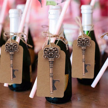 50pcs/lot Delicate Retro Vintage Skeleton Key Shape Beer Bottle Opener with Blank Tag Wedding Party Favor Decorative Accessories