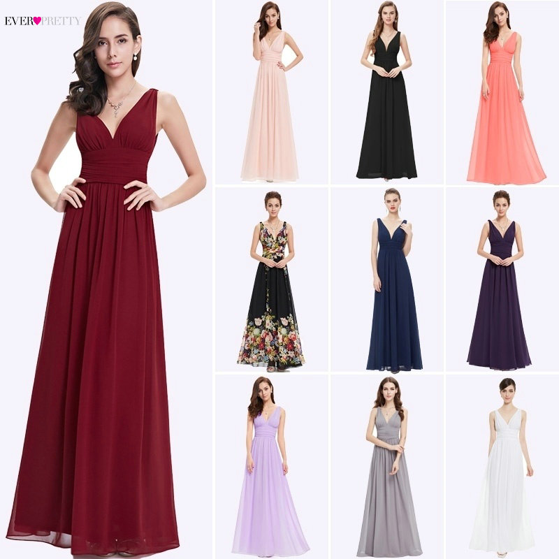 Bridesmaid Dresses 2019 Ever Pretty 5 Style Womens Fahion A-line V-Neck Elegant Long Chiffon Wedding Party Gowns