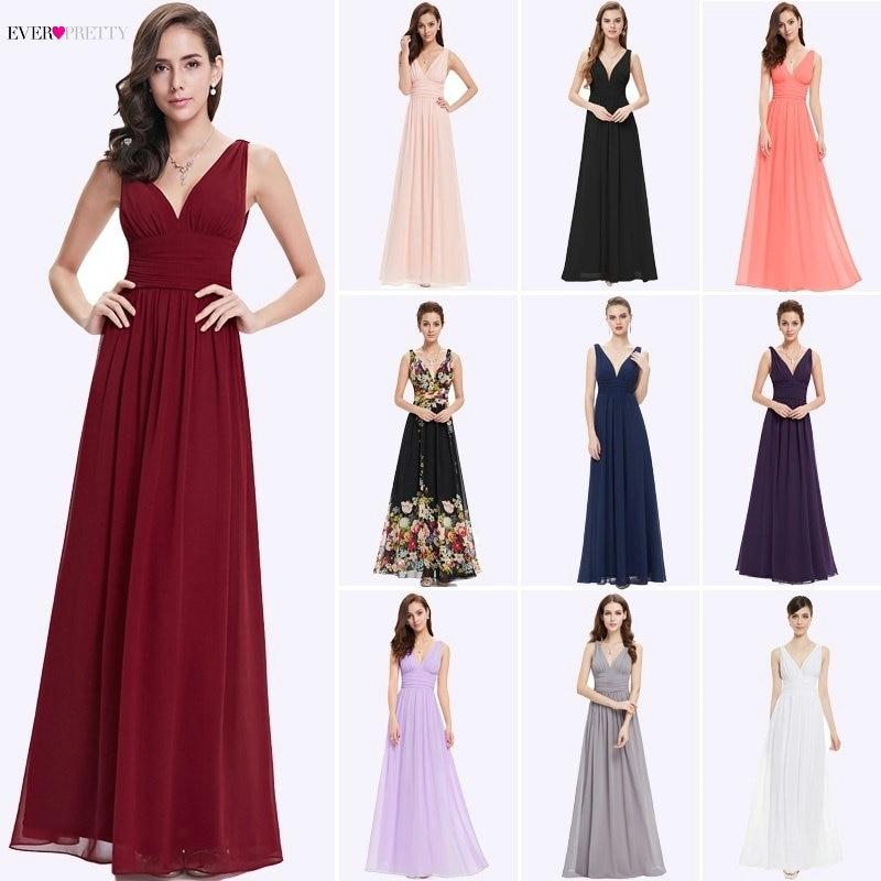 Bridesmaid Dresses 2020 Ever Pretty 5 Style Womens Fahion A-line V-Neck Elegant Long Chiffon Wedding Party Gowns