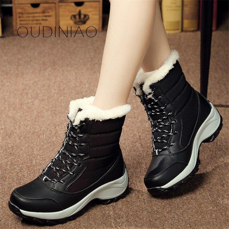 Plantilla blue Zapatos Black Con white Botas Cordones Suede 2018 De Tacones Invierno Felpa Mujer Mujeres Caliente Nieve Classic vqSxffa