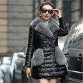 Faxul S-5XL Tamanho de Couro PU Gola Virada Para Baixo Casacos de Inverno das Mulheres de Pele De Guaxinim Moda Feminina Parka Casacos Quentes Outwear casaco