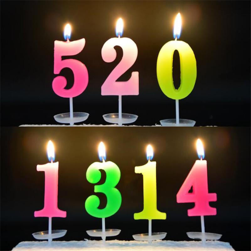 0 9 Birthday Numbers Candles With Base Candy Color Cake