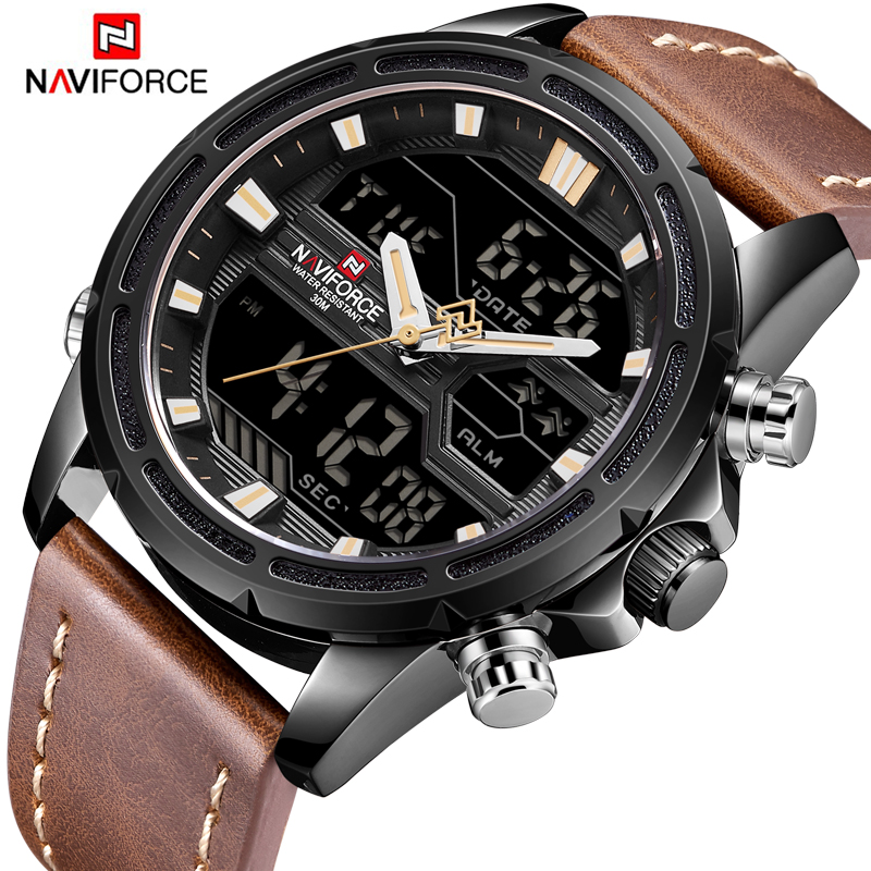 2018 NAVIFORCE Leather Sport Quartz Wrist Watch Dual Display LED Analog Clock Waterproof Date Week Male Watch Military Watches naviforce men silicone band wristwatches waterproof quartz analog display date day week wrist watch fashion casual watches 9107